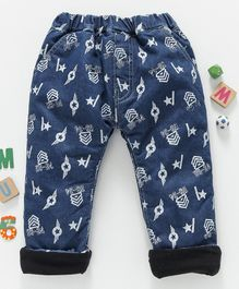 Olio Kids Full Length Printed Jeans - Blue