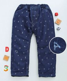 Olio Kids Full Length Jeans Alphabet Print - Dark Blue