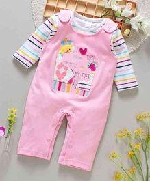 ToffyHouse Dungaree Style Romper Giraffe Patch - Pink