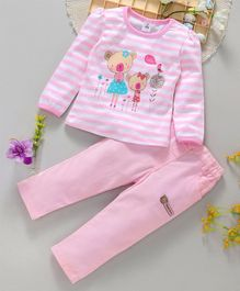 ToffyHouse Full Sleeves Stripe Tee And Corduroy Pants Bear Print - Pink White