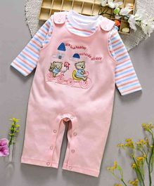 ToffyHouse Dungaree Style Romper Bear Patch - Peach