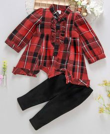 ToffyHouse Full Sleeves Check Frock And Leggings Set - Red & Black