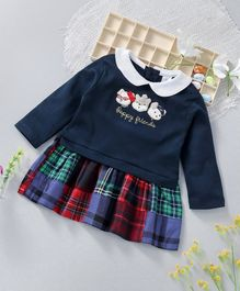ToffyHouse Full Sleeves Top & Checks Skirt - Navy