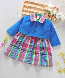 ToffyHouse Checks Frock With Shrug - Blue