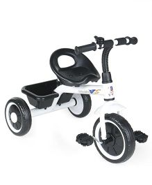 Tricycle with Bell & Rear Storage Basket - White Black