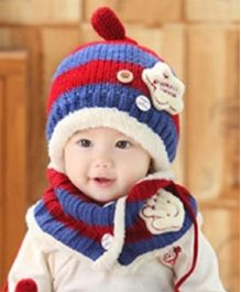 Flaunt Chic Winter Woolen Star Cap With Scarf - Navy Blue & Red