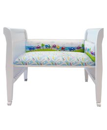 Fancy Fluff Cot Half Bumper Travel Design - Blue