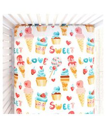 Fancy Fluff Cot Bedsheet Candy Land Design - Cream