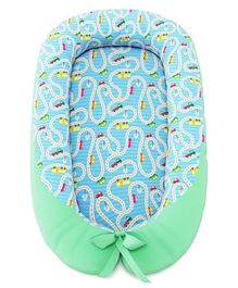 Fancy Fluff Baby Cocoon With Bed Protector Travel Theme - Blue