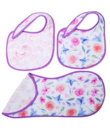 Fancy Fluff Burp Cloth & Bibs Set Garden Design White & Purple - Pack of 3