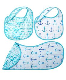 Fancy Fluff Burp Cloth & Bibs Set Nautical Design Blue - Pack of 3