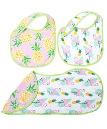 Fancy Fluff Burp Cloth & Bibs Set Tropical Design White & Peach - Pack of 3