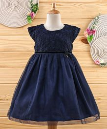 Amigo 7 Seven Floral Embroidery Work Cap Sleeves Dress - Navy