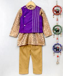 Pspeaches Full Sleeves Kurta & Pajama Set With Jacket - Purple