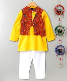 Pspeaches Full Sleeves Kurta & Pajama Set With Floral Jacket - Yellow