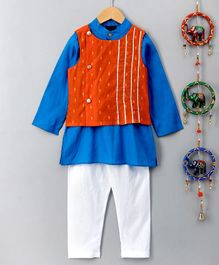 Pspeaches Self Design Jacket With Full Sleeves Kurta & Pajama - Blue & Orange