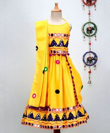 Pspeaches Halter Neck Mirror Work Choli With Lehenga & Dupatta Set - Yellow