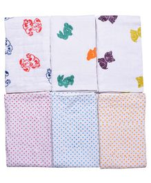 MK Handicrafts Cotton Quilts Polka Dot & Animal Design Pack of 6 - White
