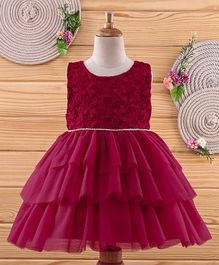 Amigo 7 Seven Layered Floral Embroidery Sleeveless Dress - Wine
