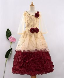 Enfance Flower Applique Shimmer Party Wear Gown With Inner - Maroon