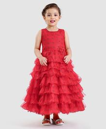 Enfance Snowflakes Design Layered Sleeveless Party Wear Gown - Red