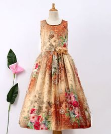Enfance Floral Print Sleeveless Party Wear Gown - Multi Colour