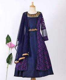 Enfance Full Sleeves Gown With Attached Jacket - Navy Blue