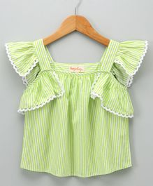 Hugsntugs Striped Top With Lace - Green