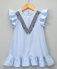 Hugsntugs Chambray Dress With Fringe Lace At Front - Blue