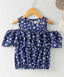 Soul Fairy Dot Printed Cold Shoulder Top - Navy Blue