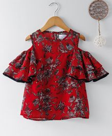 Soul Fairy Floral Print Cold Shoulder Top - Red