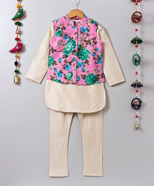 Twisha Kurta & Pyjama With Floral Print Jacket Set - Beige