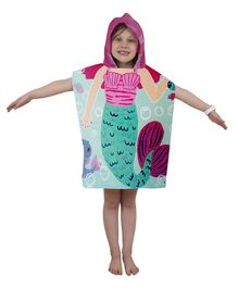 Athom Trendz Premium Cotton Bath Poncho Mermaid Print - Green
