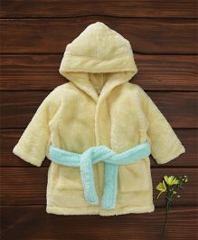 Babyhug Full Sleeves Hooded Velour Bath Robe - Yellow