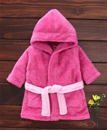 Babyhug Full Sleeves Hooded Velour Bath Robe - Dark Pink