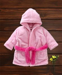 Babyhug Full Sleeves Hooded Velour Bath Robe - Light Pink