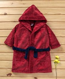 Babyhug Full Sleeves Velour Hooded Bathrobe - Maroon