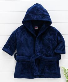 Babyhug Full Sleeves Hooded Velour Bath Robe - Navy Red
