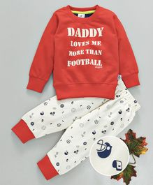 Ollypop Full Sleeves Night Suit Daddy Print - Red White