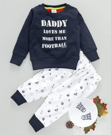 Ollypop Full Sleeves Night Suit Daddy Print - Navy White