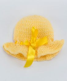 Knits & Knots Cap With Satin Bow - Yellow