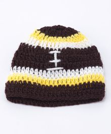 Knits & Knots Rugby Ball Design Cap - Brown