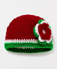Knits & Knots Cap With Flower Work - Red