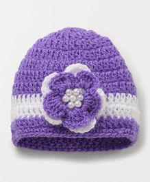 Knits & Knots Flower & Pearls Design Cap - Purple & White