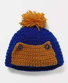 Knits & Knots Cap With Pom Pom & Button - Blue & Brown
