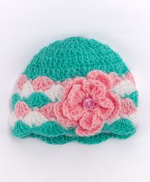 Knits & Knots Button & Flower Design Cap - Green & Pink