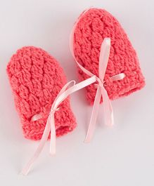 Knits & Knots Mittens With Lace - Pink