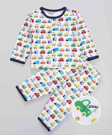 Doreme Full Sleeves Night Suit Allover Vehicle Print - White & Multicolor