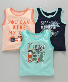 Ohms Sleeveless Vests Multi Print Pack of 3 - Blue Peach