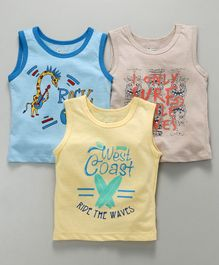 Ohms Sleeveless Vests Multi Print Pack of 3 - Blue Yellow Grey
